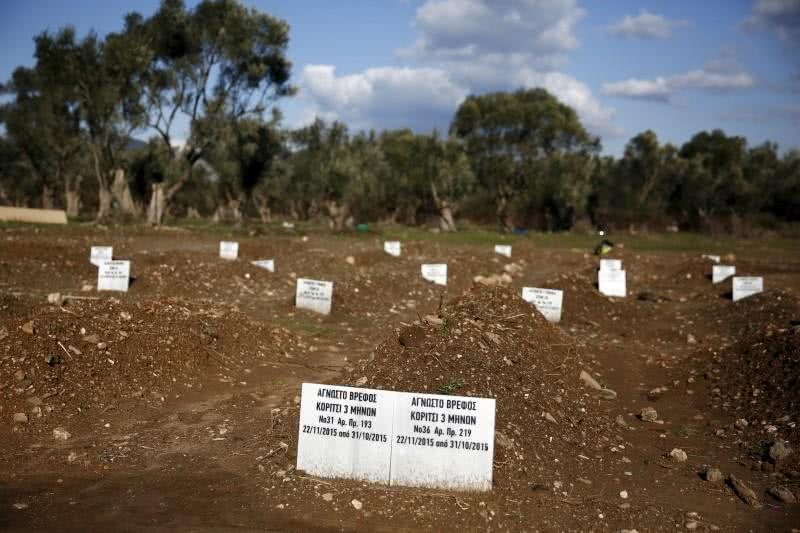 Tombstones are placed on graves of unidentified refugees and migrants who drowned at sea during an attempt to cross a part of the Aegean Sea from the Turkish coast, in Lesbos